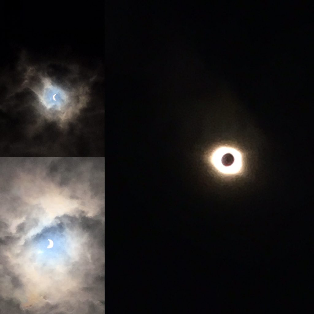 Photo before, during, and after Totality